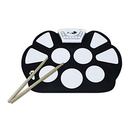 V.TOP 9 Pad Flexiable Silicon Roll Up Electronic Drum Kit with Drum Sticks and Sustain Pedal for Children - Electronic Drums Pad Set Kids Gift for Christmas Day