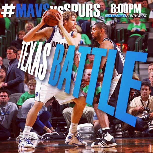 Mavs vs Spurs tonight at 8PM CST on Fox Sports Southwest. Let's Go Mavs!