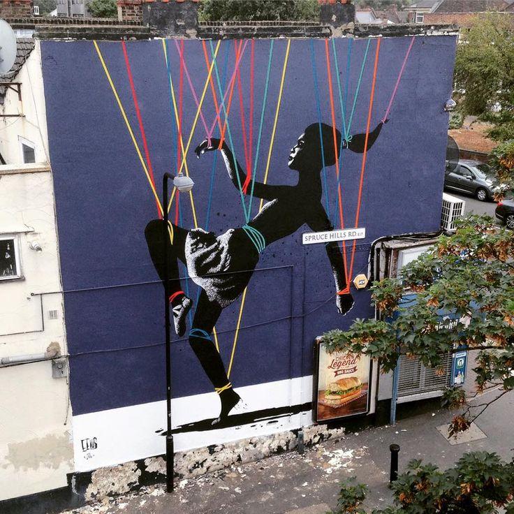 "eelus wood street walls   Eelus in London - ""Trip The Light Fantastic"" for Wood Street Walls."