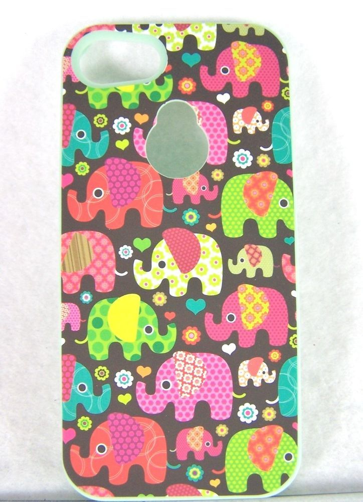 """#Maxboost Fusion #cell #mobile #wireless #cellphone hard rigid #colorful multi-color #elephant """"Too Trunkin' Cute"""" #print #plastic #matte #premium coated snap #phone #case with #sleek & #slim design and compatible with #Apple #iPhone 5/5S, brand new & unused in original manufacturer's packaging & white cardboard retail protective box…"""