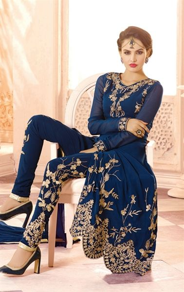 Picture of Angelic Ink Blue Designer Churidar Kameez