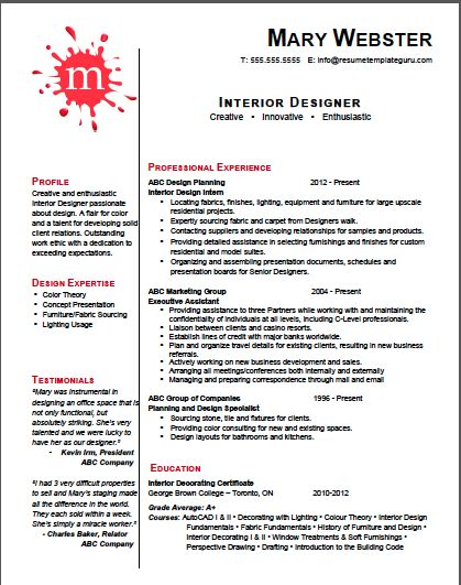 interior design resume free templates samples format for fresher pdf
