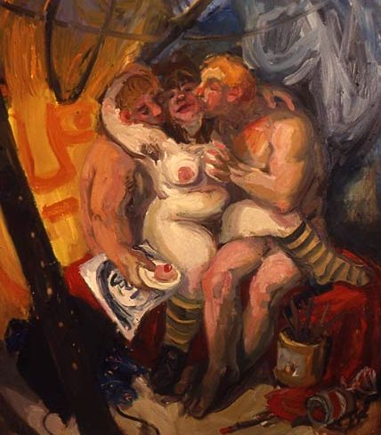 Wendy Sharpe's 'Artist with men and cake' (1996), Oil on canvas
