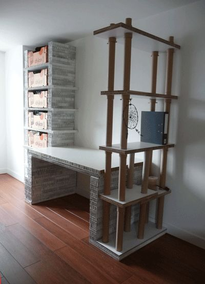 Ideas de escritorio con tubos de cartón muy original