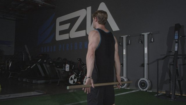 Wand Extension, an EZIA Physical Therapy Exercise  1.Start in standing position holding wand behind back with palms facing up