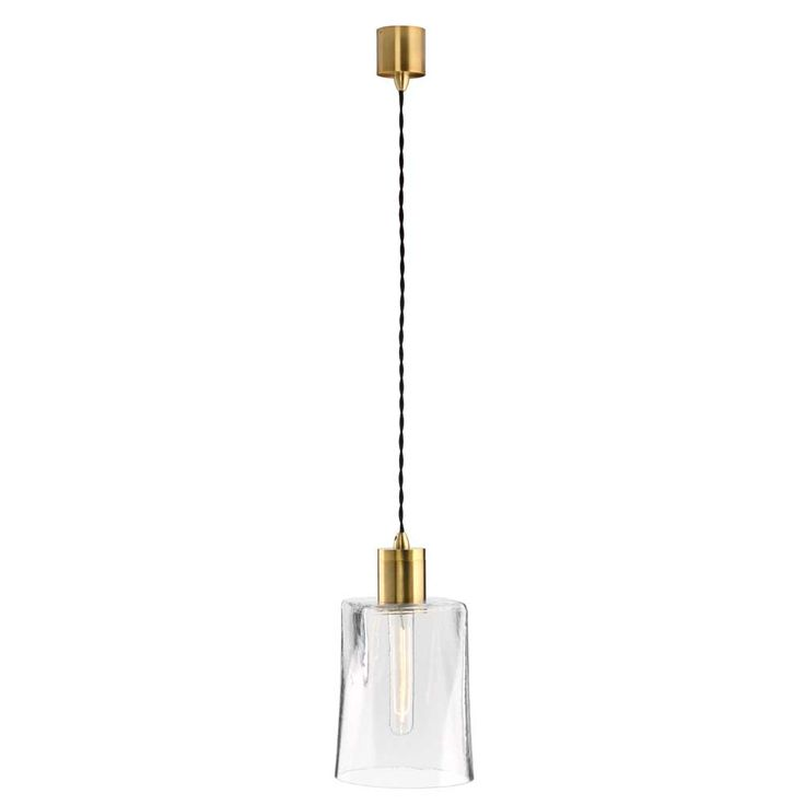 Parlour Mouth Blown Glass Brass or Iron lamp holder and fabric twisted cord suspension. Choices of square, round or square/round glass.
