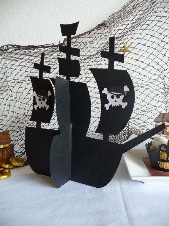 Pirate Ship Centerpiece 3D with skulls for Pirate birthday party decorations