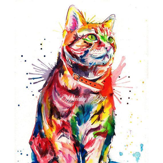 Impresión colorida del arte del gato de Tabby – impresión de mi pintura original de la acuarela