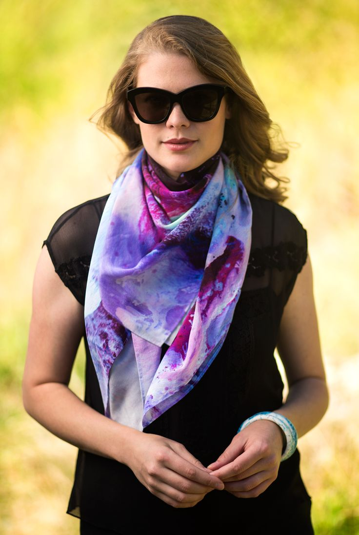 Holly Denholm wearing the Aurora Scarf, $220. 100% silk and made in Australia.  #madeinaustralia #silkscarf #silk #scarf #pinkandpurple #pink #violet #shoot #fashion #Australianfashion #clancollective #design #art #abstract