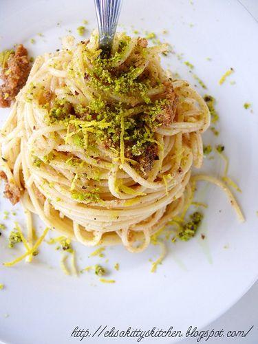 Italian recipes...   Spaghetti con bottarga, pistacchi di Bronte e zest di limone