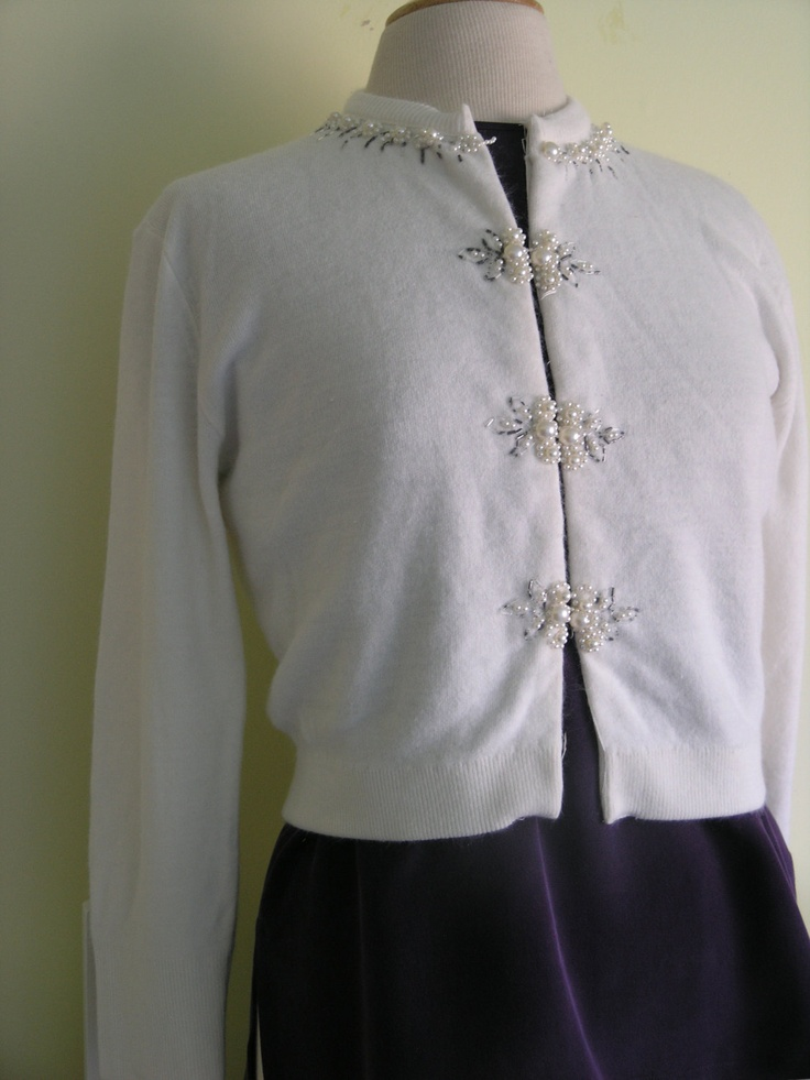 Vintage ladies small cream beaded cardigan sweater. $48.00, via Etsy.
