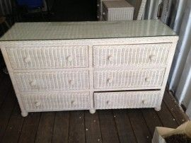 #Phoenix AZ Merchandise / Complete #Bedroom Set - FULL - White Woven #Wicker - Geebo