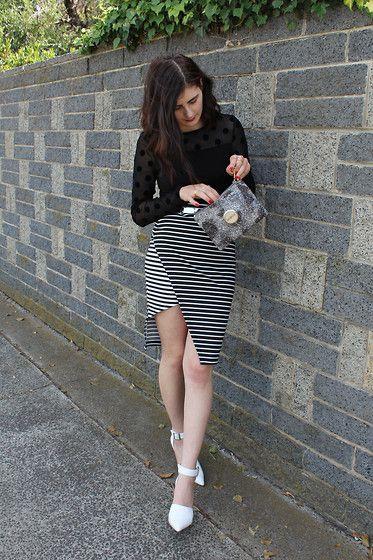 Staple The Label Asymmetric Skirt, Sheer Polka Dot Top, Pointed Strap Heels