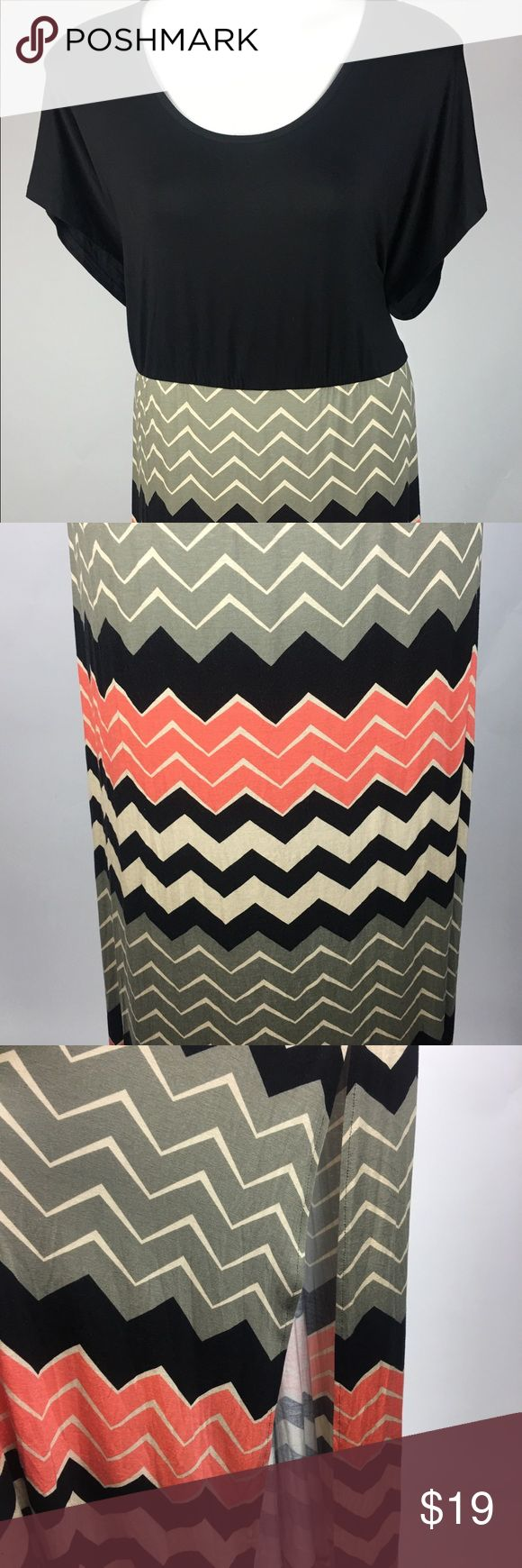 """Chevron Maxi Dress drop waist plus size 3X a.n.a Chevron Maxi Dress - size 3x - short sleeve - full length with slit in skirt - chest 52"""" unstretched- length 57.5"""" hip 58"""" - pre owned and gently worn a.n.a Dresses Maxi"""