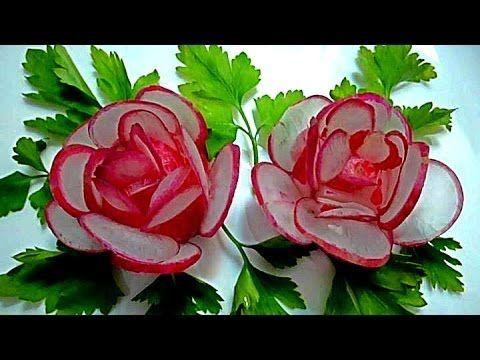 Цветы из редиса. Украшения из овощей. Decoration Of Vegetables