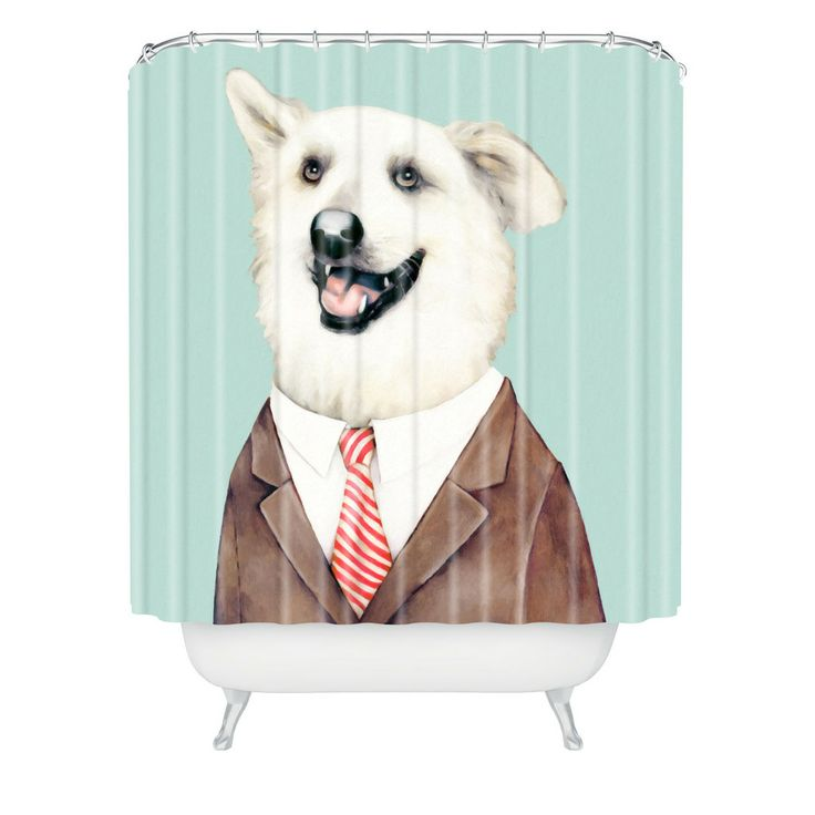 Animal Crew Happy Dog Shower Curtain | DENY Designs Home Accessories