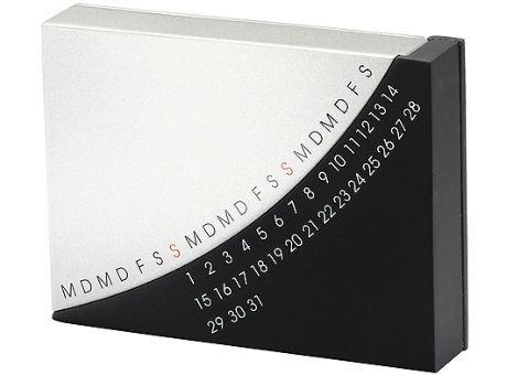 Tischkalender Move, silber/schwarz | Werbeartikel und Werbemittel zum Bedrucken mit Logo | erwinlang Werbeartikel