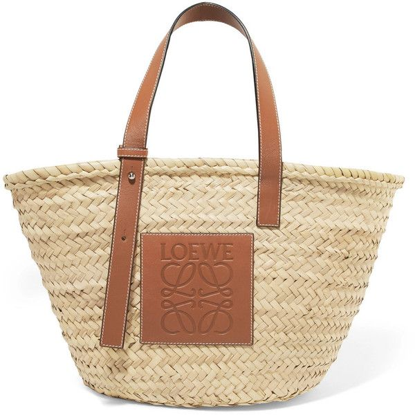 Loewe Large leather-trimmed woven raffia tote (£295) via Polyvore featuring bags, handbags, tote bags, brown tote purse, brown tote bags, raffia tote, tote bag purse and raffia tote bag