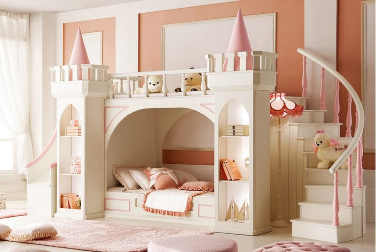 Latest design Royal castle small princess bedroom furniture kids bunk bed for…