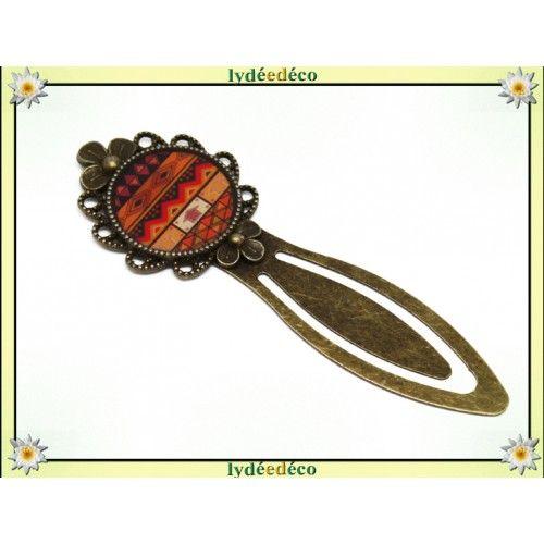 Marque-pages retro Afrique orane marron noir resine et laiton bronze diametre 20mm   Boutique Lydeedeco