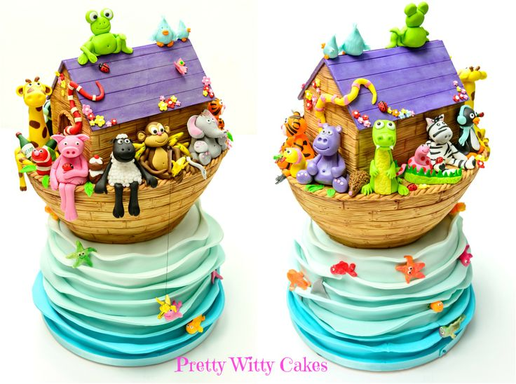 Noah's Ark cake using characters from my book https://www.prettywittycakes.co.uk/shop/book-store/pretty-witty-cakes-book-sugarcraft-characters
