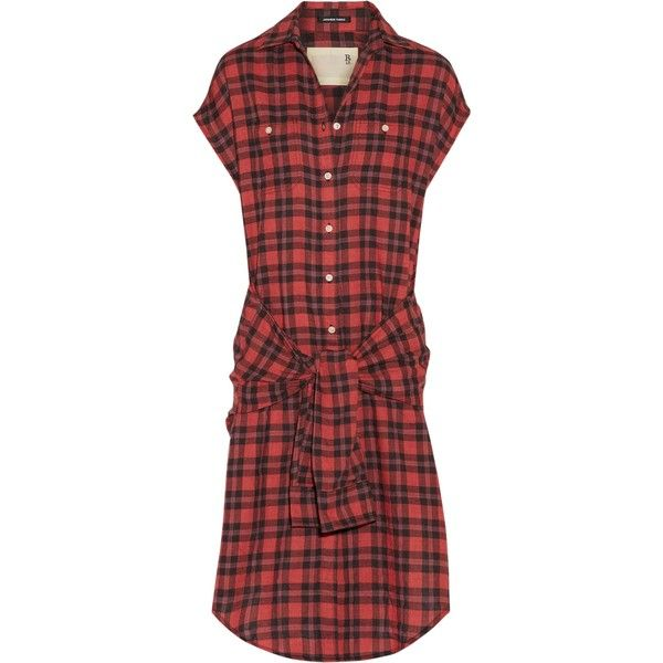 R13  Tie-front plaid flannel shirt dress ($260) ❤ liked on Polyvore featuring dresses, high-low shirt dresses, long shirt dress, long plaid shirt dress, red shirt dress and red high low dress