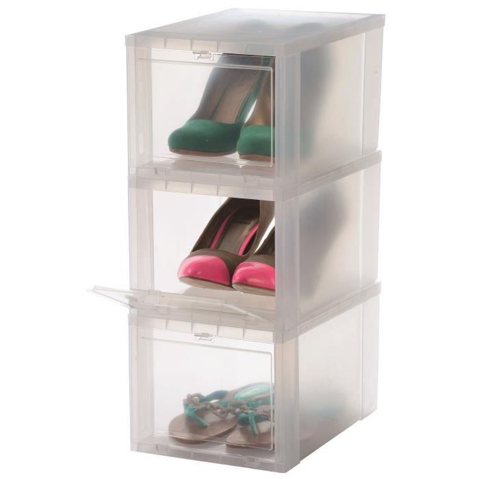 IRIS OHYAMA Lot de 3 boîtes de rangement pour chaussures Drop Front Box EUDF-S - Plastique - 9 L ...