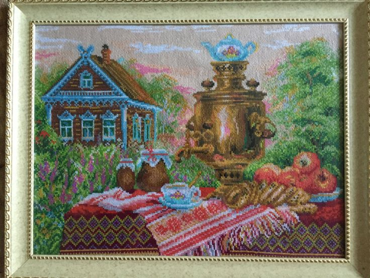 """Completed cross stitch, Home decoration, Framed cross stitch, Handmade embroidery -""""Tea from a samovar"""". Free shipping by NattikStudio on Etsy"""