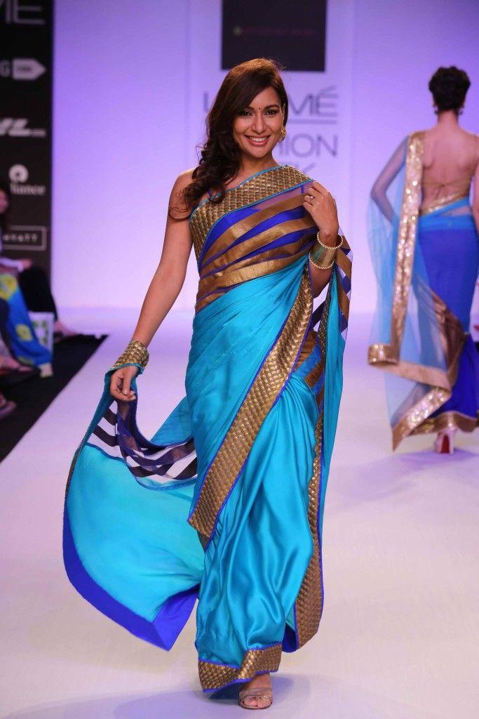 Mandira Bedi Designs' Fire & Ice at #LakmeFashionWeek #saree #sari #blouse #indian #outfit #shaadi #bridal #fashion #style #desi #designer #wedding #gorgeous #beautiful
