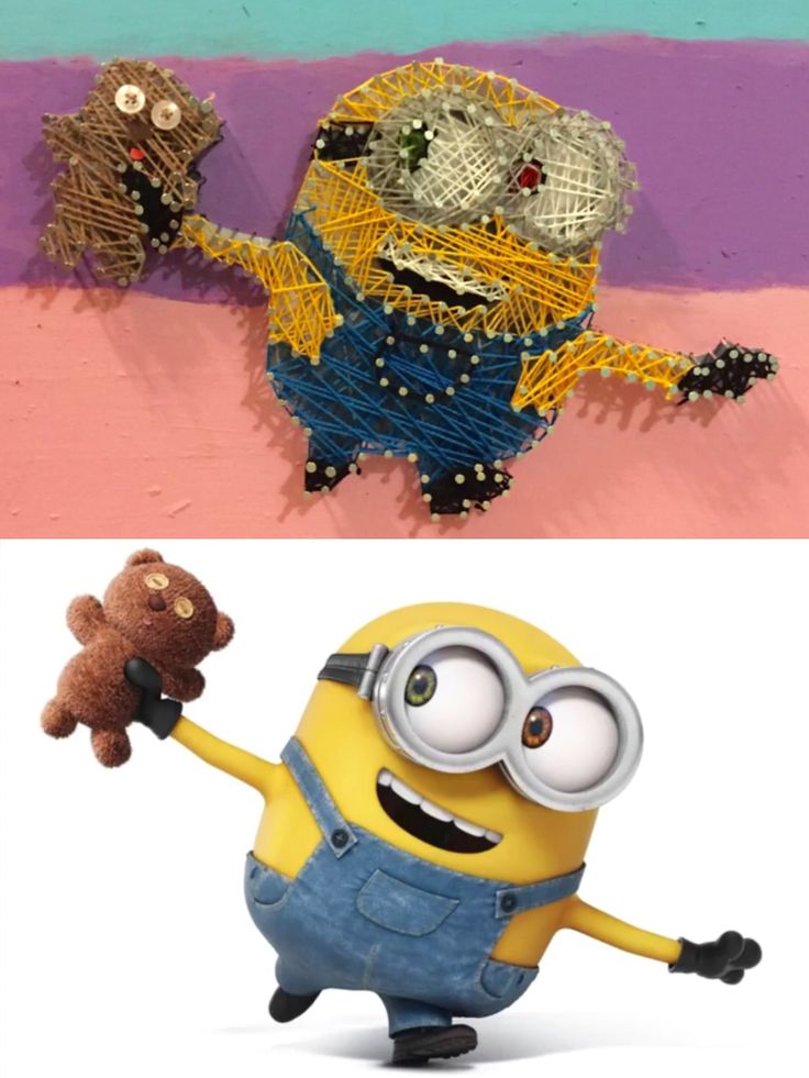 "easy minion string art. cheap and easy to do. YOUTUBE ""minion string art"" too see how it was done"