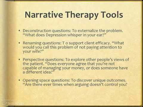NARRATIVE THERAPY Interesting video...quick and dirty of this intervention and how to use it!