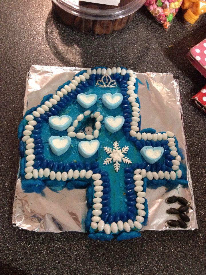 Frozen inspired number 4 cake