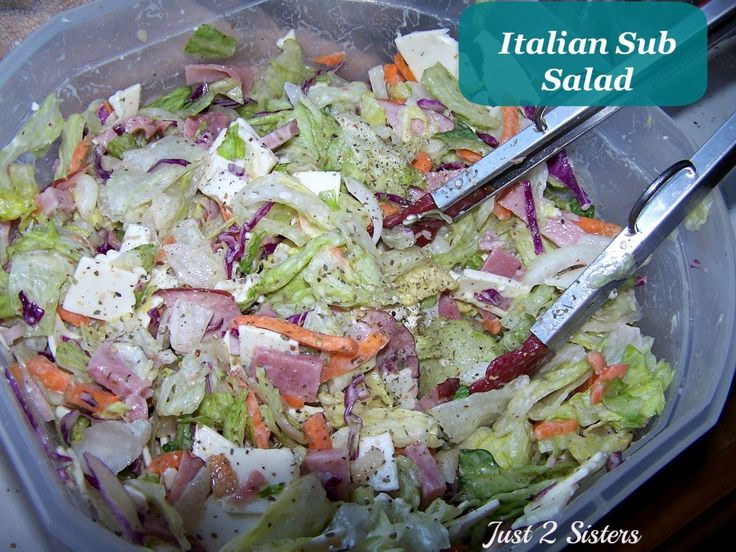 Italian Sub Salad Recipe -I make this often w/o knowing the name of it! I add a slash of balsamic, parmesan, little chunks of mozz cheese, kalamata/green olives, can substitute mayo for: Greek yogurt and/or sour cream, green peppers, spinach/kale/green leaves, fresh herbs: parsley, basil, etc., and I've even been known to add a bit of leftover brown rice or pasta from my fridge! Add whatever you want! It's all delicious!!