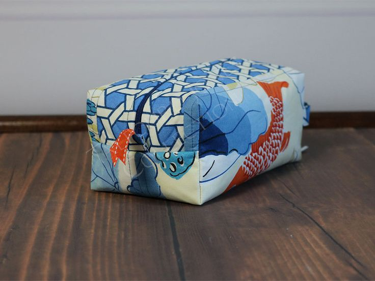 Ivory, Blue, Orange Travel Toiletry Box Pouch - Makeup or Cosmetic Storage…