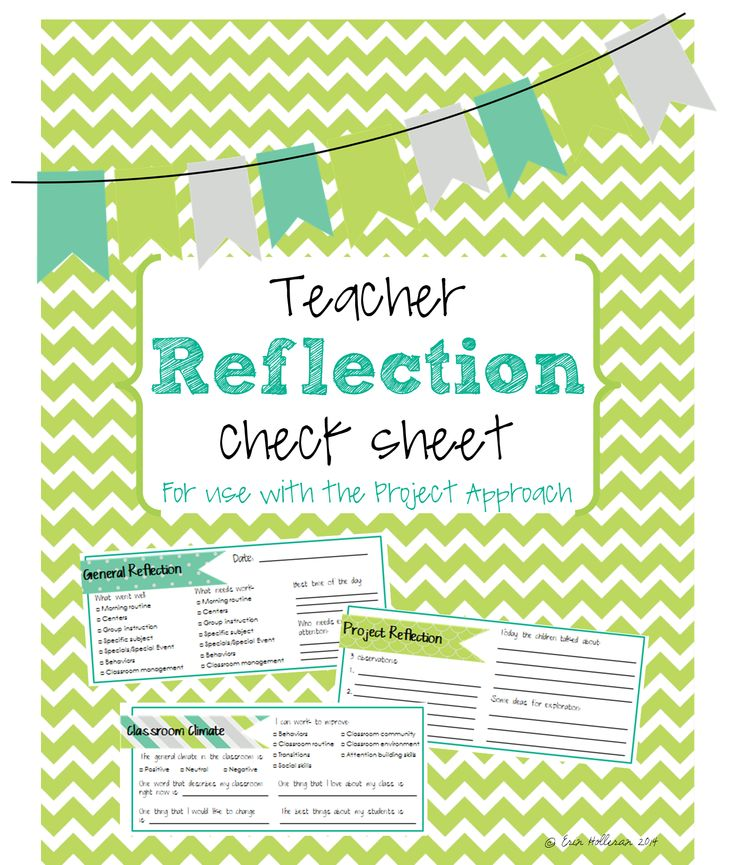 Teacher reflection checklist - quick and easy way to reflect on your day (use with the Project Approach and Reggio Emilia Philosophy). Preschool, Infants, Toddlers