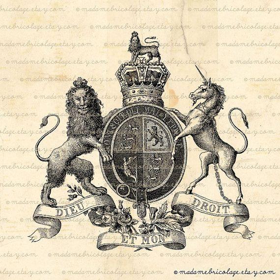 lion and unicorn heraldry transfer