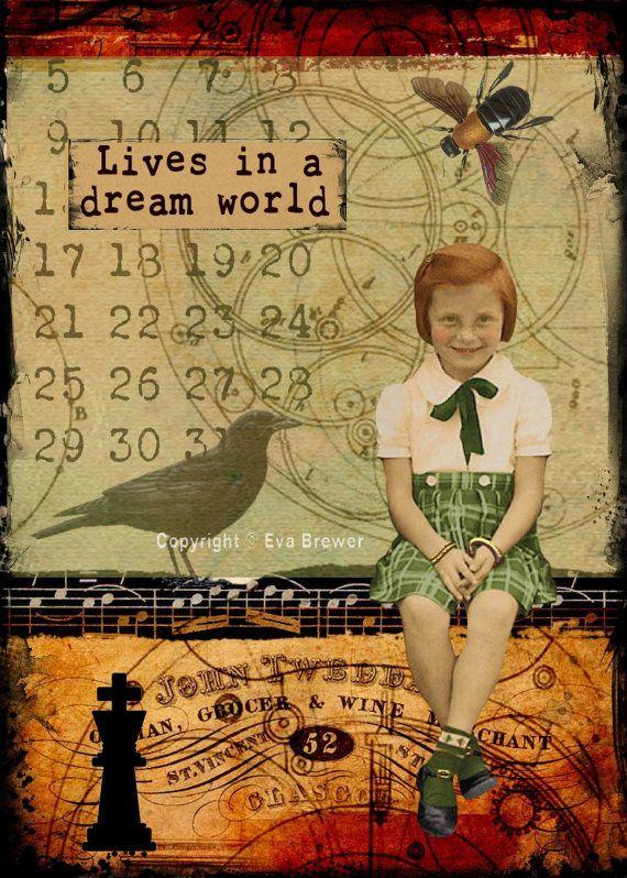 Vie dans un collage original de rêve monde altérée art steampunk collage imprimé