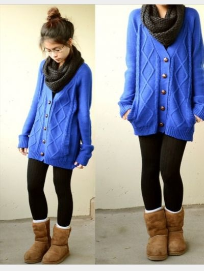 Love the blue cardigan.