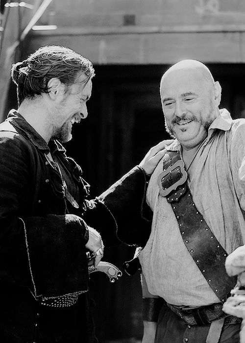 Toby Stephens and Mark Ryan behind the scenes of Black Sails: Season 1.