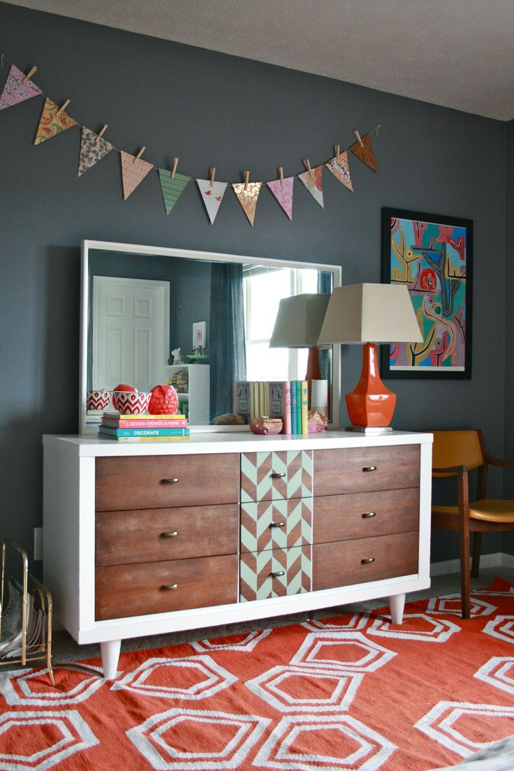 | Dream Green DIY project. refinishing a mid-century dresser with a modern kick. LOVE this idea.