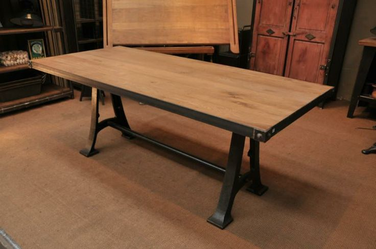 Wrought Iron Base Dining Table Industrial Dining Table