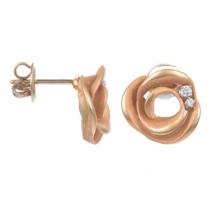 Annamaria Cammilli 18K Pink Gold & Diamond Rose Earrings (=)