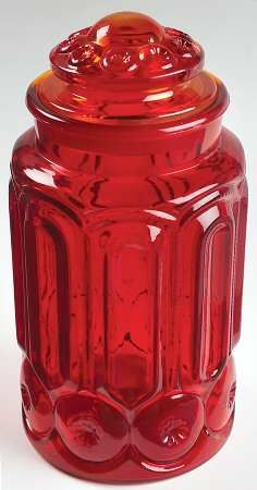 Smith Glass  Moon and Stars Amberina Flour Canister