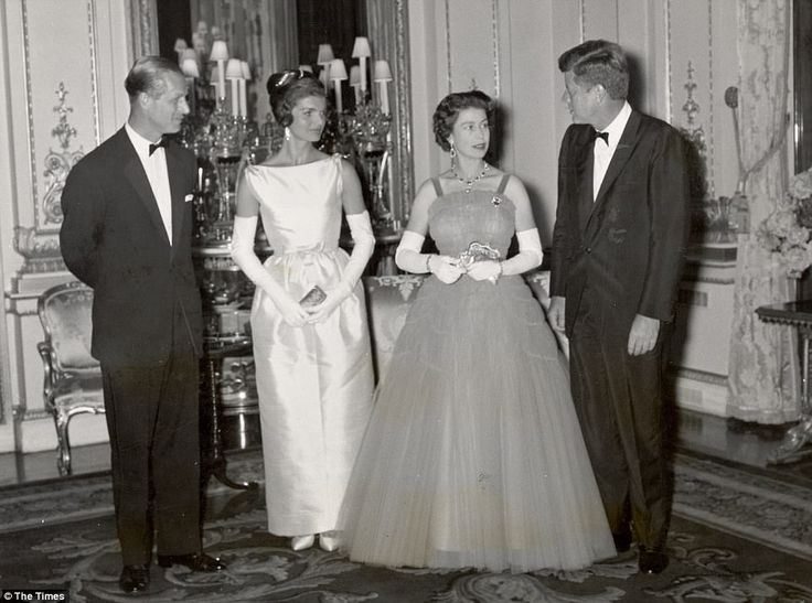 The Queen entertained President John F Kennedy and his wife Jacqueline Kennedy Onassis for...