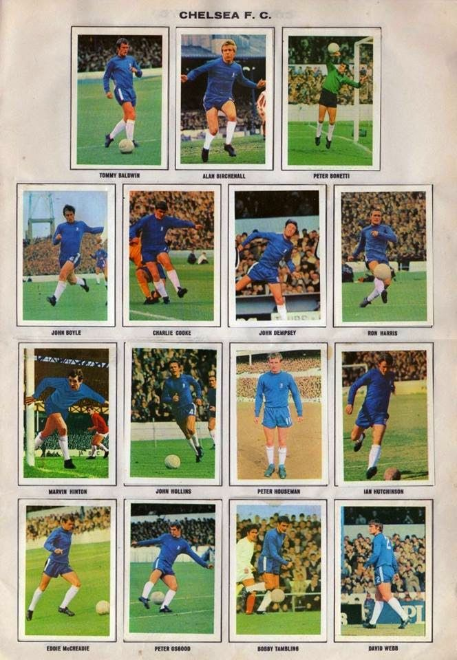 Chelsea team stickers for 1971.