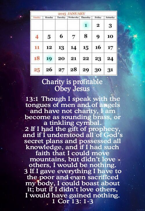 Charity is profitable. Federal Holidays Jan 1 and Jan 19