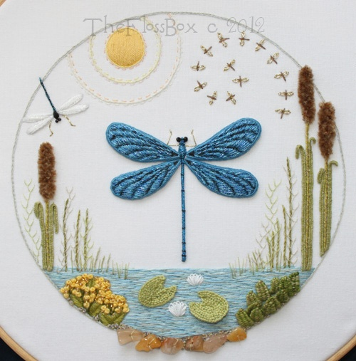 Dragonfly Stumpwork Embroidery by flossbox, via Flickr