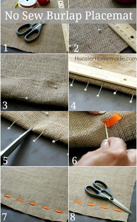 No Sew Burlap Placemat | Instructions on HoosierHomemade.com