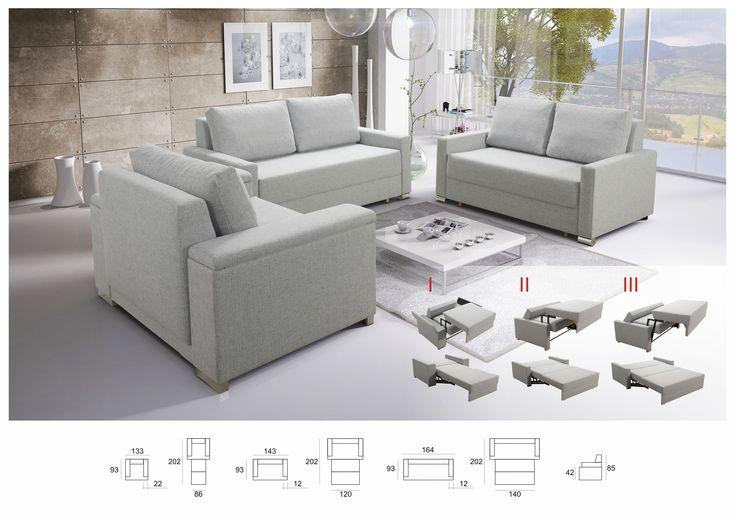 Sofa SET 3+2+1 BUFFALO mit Schlaffunktion Couchgarnitur Couch Sofagarnitur Wohnlandschaft, NEU