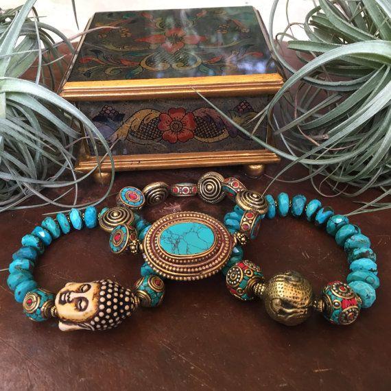 Chinese Turquoise Gemstone Buddha Tribal by JewelrybyKellyWalker
